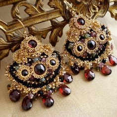 Bohemian Handmade Lace and Garnet Chandelier Earrings by Edera Jewelry