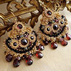 Bohemian Handmade Lace and Garnet Chandelier Earrings by Edera Jewelry