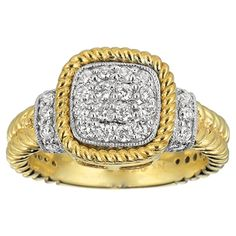Gabriel & Company 14K .50ctw Diamond Cushion Cluster Ring #jewelry #gold #ring #diamonds