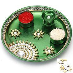 Green Pooja Thali with 1000 gms Kaju katli - Online Shopping for Diwali Pooja Accessories by Ghasitaram Gifts