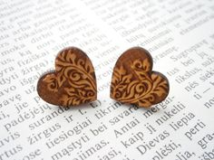 Laser Cut Wood Heart Earrings Engraved Vintage by LaserCutJewelry...days like this i hate having gauges! ;P Lol.