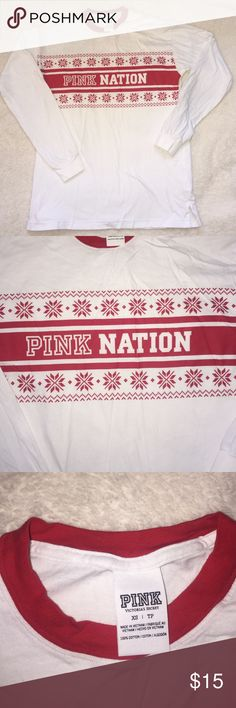 Victoria's Secret Pink Long Sleeve Never worn festive long sleeve. PINK Victoria's Secret Tops Tees - Long Sleeve