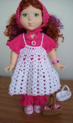 """Free 18"""" doll dress crochet pattern outfit. At Crochetville.com"""