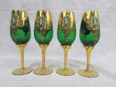 Crystal Wine glasses, Pewter, Gold and Glass Goblets