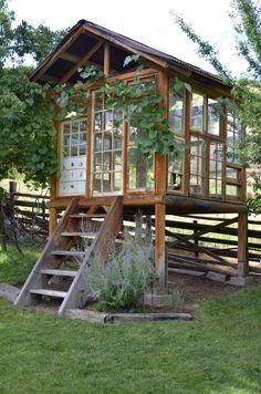 """La Maison Boheme: Spirit House Made With Recycled Windows, """"greenhouse"""" Outdoor Sheds, Outdoor Rooms, Outdoor Gardens, Outdoor Living, Outdoor Office, Modern Gardens, Outdoor Patios, Shed Design, Garden Design"""