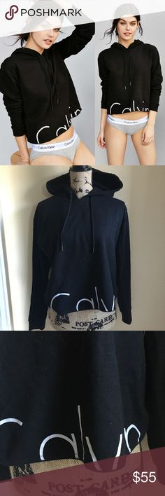Womens Calvin Klein modern logo cropped sweater Calvin Klein modern logo cropped sweater  Black with white lettering  New without tags  Size small Calvin Klein Tops Sweatshirts & Hoodies