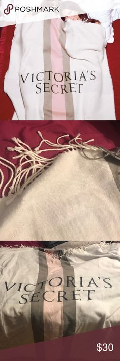 Victoria's Secret Pink White & Grey Blanket Opened this to see what it looked like but it has not been used... I don't have the original packaging. The top and bottom end (shown in pic) have fringe ends. Length is 50x60. Offers are welcome :) PINK Victoria's Secret Accessories