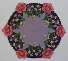 Vintage Bold Purple Floral Hexagon Hanky