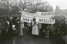 "Abortion demonstration at Amsterdam, women with banners on the Museumplein [Banners say ""We women demand; abortion out of criminal law"" ""Abo..."
