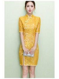Golden Yellow Lace Qipao / Cheongsam Dress Cheongsam Modern, Yellow Lace Dresses, Cheongsam Dress, Batik Dress, Chinese Clothing, Ethnic Fashion, Collar Dress, Traditional Dresses, Golden Yellow