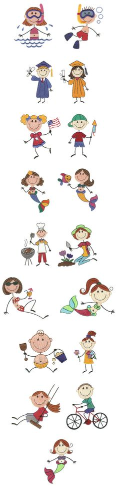 Embroidery | Free Machine Embroidery Designs | Summer Time Stix Sewing Machine Embroidery, Embroidery Applique, Stick Figure Drawing, Stick Figures, Drawing For Kids, Applique Designs, Easy Drawings, Summer Time, Needlework