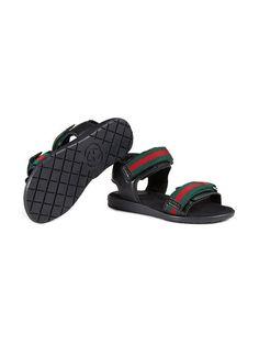 e8f519dc Shop Gucci Kids Children's leather sandal with Web Gucci Kids, Boys Shoes,  Leather Sandals