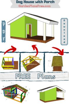 Step by step tutorial on how to build a dog house with porch. The large dog house is simple to build and it comes with a distinctive design. Full Cut and Shopping lists included. PDF Download, as well. #doghouse #dog #dogshelter Dog House With Porch, Large Dog House, Build A Dog House, Dog House Plans, Exterior Wall Panels, Porch Plans, Porch Area, Easy Wood Projects, Storage Sheds