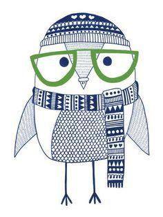 Owl print by Heidi Suul kidnordic.com