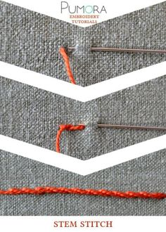 1. stem stitch 2. whipped stem stitch 3. split stitch 4. side-to-side stitch 5. portugese stem stitch 6. outline stitch 7. raised stem stitch 8. japanese stitch 9. stem stitch as filling Stem stitc…