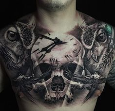 Chest Tattoo With Skull, Clock & Owls http://tattoo-ideas.com/skull-clock/