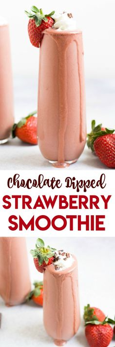Chocolate Dipped Strawberry Smoothie. Chocolate dipped strawberries in a thick, creamy smoothie. Makes a great snack to pick up your day. #smoothie #chocolate #strawberry