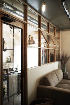 Natural tones indoor window - a mix of mid-century modern, bohemian Cafe Interior, Room Interior, Interior And Exterior, Plan Duplex, Casa Retro, Industrial Interiors, Home And Deco, Cabana, Windows And Doors