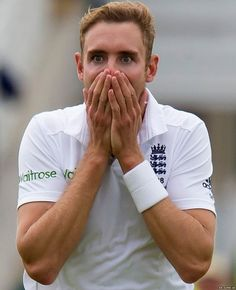 England's Stuart Broad reacts after a catch by team-mate Ben Stokes dismissed Australia's Adam Voges