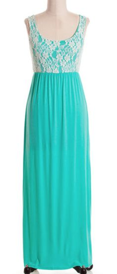 love this lace overlay maxi dress in mint!!