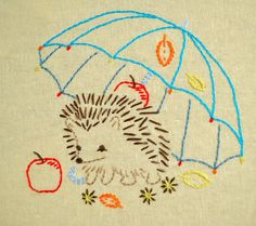 DIY gift, Hedgehog hand embroidery patterns, woodland nursery, forest animals by NaiveNeedle This little cute hedgehog hiding under an umbrella from the autumn bad weather. The beginning needleworker will appreciate its many straightaways and open curves, and will learn a lot stitching the smaller shapes, some of which require care to get just right. Choose from color or monochrome styles. Ideas for use: kids wear, bedclothes, aprons, curtains, purses, dish towels, quilt blocks, garments,...
