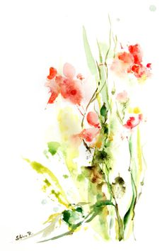 Watercolor Painting Art Print Abstract Flowers Spring Green Pink Intuitive