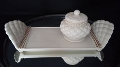 Porcelain Vanity Set 2  Piece Quilted Look by frankiesfrontdoor, $18.00