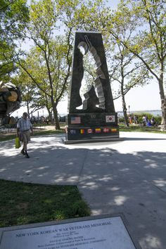 This monument in Battery Park north of Castle Clinton, honors military personnel who served in the Korean Conflict (1950–1953). The memorial, dedicated in 1991, was designed by Welsh-born artist Mac Adams (b. 1943) and is notable as one of the first Korean War memorials erected in the United States. Battery Park, Manhattan, NYC (08/24/2016)