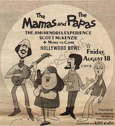 18.8.1967; the mamas and the papas - the jimi hendrix experience - scott mckenzie; usa, l.a., hollywood bowl; (db)