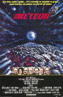 """Meteor is a 1979 science fiction Technicolor disaster film in which scientists detect an asteroid on a collision course with Earth and struggle with international, cold war politics in their efforts to prevent disaster. The movie starred Sean Connery and Natalie Wood. It was directed by Ronald Neame and with a screenplay by Edmund H. North and Stanley Mann, """"inspired"""" by a 1967 MIT report Project Icarus. The movie co-starred Karl Malden, Brian Keith, Martin Landau, Trevor Howard, etc."""