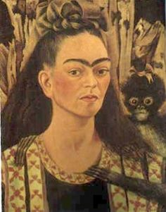 """Self Portrait with Monkey - Frida Kahlo - """"Diego Rivera and Frida Kahlo in Detroit"""" at Detroit Institute of Arts - April 2015"""