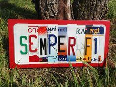 SEMPER FI Custom Recycled License Plate Art by CustomPlateArt4U, $48.00