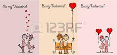 San Valent�n dibujo chico y una chica photo