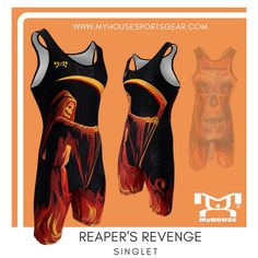 Check out eyecatching MyHOUSE Reaper's Revenge Mens Singlet. MyHOUSE is the leading provider of #wrestling products in the USA.