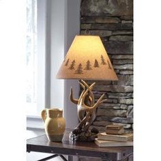 Derek - Poly Table Lamp (Set of by Signature Design by Ashley. Get your Derek - Poly Table Lamp (Set of at American Furniture, Brooklyn Park MN furniture store. Rustic Lamp Sets, Rustic Table Lamps, Table Lamp Sets, Brown Table Lamps, Bedroom Lamps, Bedroom Decor, Antler Lamp, Cool Lighting, Decoration