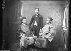 The first visit by Chinese ambassadors to Australia: Generals Ho and Tsing with a Chinese Australian.