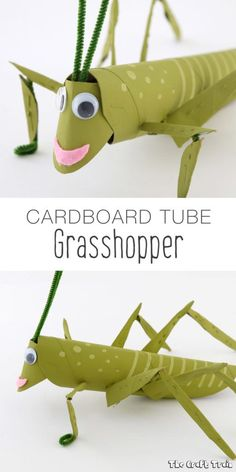 Cardboard tube grasshopper recycling craft for kids Cardboard tube grasshopper recycling craft for kids Recycled Art Projects, Recycled Crafts, Craft Projects, Insect Crafts, Bug Crafts, Animal Crafts For Kids, Art For Kids, Toilet Paper Roll Crafts, Paper Crafts