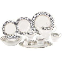 The lovely Lorren Home Trends Tula Dinnerware Set makes elegant entertaining easy. This stylish porcelain dinnerware set includes service for 8 as well as 6 serving pieces all decorated with a striking cobalt blue and gold lattice pattern. Dinnerware Sets For 8, Square Dinnerware Set, Casual Dinnerware, Bone China Dinnerware, Porcelain Dinnerware, China Porcelain, Elegant Dining, Home Trends, Stoneware