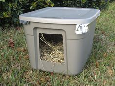 Outdoor Cat Shelter For Multiple Cats Emergency Cold Weather Shelter For Stray Or Feral Cats Recycle Old Bin Outdoor Cat Shelter For Multiple Cats Feral Cat Shelter, Outdoor Cat Shelter, Outdoor Cats, Feral Cats, Cat Shelters, Animal Shelters, Outdoor Shelters, Insulated Dog House, Cat Enclosure