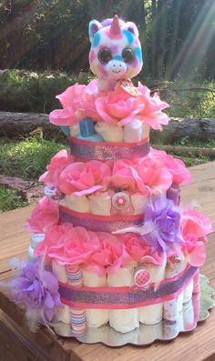 Unicorn Diaper Cake by BabyKnowsBest on Etsy, $70.00