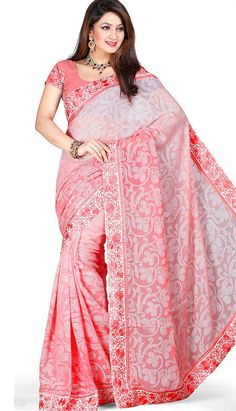 Get Latest Traditional Designer Baby Pink Brasso #DesignerSaree Online.  #Price INR- 2929 Link- http://alturl.com/v2qzy
