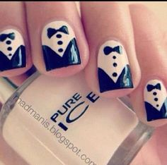 30 Prettiest Black and White Nail Art Designs Just for You ! Nail Art Diy, Diy Nails, Nail Art Blanc, Nail Art Designs, Nails Design, Tuxedo Nails, Black And White Nail Designs, Prom Nails, Wedding Nails
