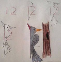 Learn to draw the children. The greatest drawings that start with numbers … - Painting & Drawing Drawing Lessons, Drawing Techniques, Art Lessons, Bird Drawings, Animal Drawings, Easy Drawings, Drawing Birds, Number Drawing, Number Art