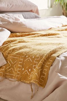 Vintage Yellow Mudcloth Blanket - Urban Outfitters