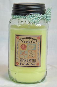 Prim Country Fresh Air Jar Candle, 25 oz. Mason Jar, Super Scented, 85 Hour Burn #CountryCandles #Primitives #MasonJars