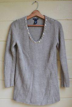 Women's V Neck Sweater Oatmeal Silver Studded by founditinatlanta, $32.00