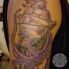 """It's #tattootuesday mates!!! Show some skin, show some ink, show some rum! """"That last one doesn't fit"""" you say? Twenty lashes for ye! Rum fits with everything!  Go tag us in your ink pics. We'll repost a few throughout the day. This piece is on @swfl_native_2491.  ⚓️ #pirate #piratecrew #pirateship #tattoo #tattoos #ink #captainsdeckapparel @captainsdeckapparel"""