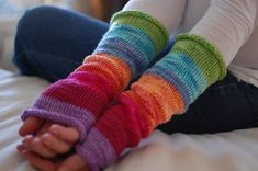 Okay, so its not a sewing project, but I would love to make there. Super cute! rainbow arm warmers! cute!