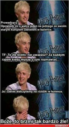 Harry Potter interview with Tom Felton, actor of Draco Malfoy Harry Potter Interviews, Harry Potter Jokes, Harry Potter Cast, Harry Potter Fandom, Harry Potter World, Tom Felton, Drarry, Dramione, Hery Potter