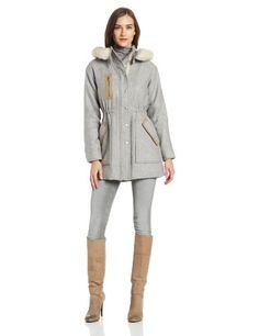Rebecca Taylor Women's Long Sleeve Wool Coat with Shearling Hood